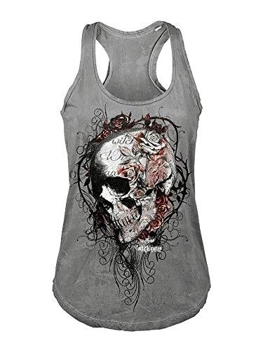 Beautife Women's Skull Print Lace Shirt Patchwork Sleeveless Tank Tops Plus Size (XX-Large, Grey) ()