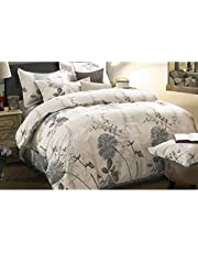 Wake In Cloud - Floral Duvet Cover Set King, 100% Soft Cotton Bedding, Botanical Flowers Pattern Printed, with Zipper Closure (3pcs, King Size)