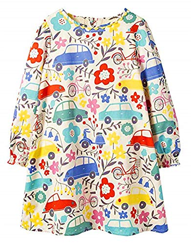 HILEELANG Toddler Little Girl Floral Dress Cotton Long Sleeve Casual Party Daily Dresses from HILEELANG