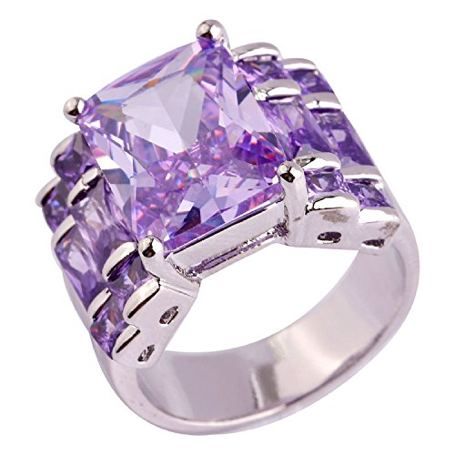 Psiroy 925 Sterling Silver Grace Womens Band Charms Gorgeous 10mm15mm Emerald Cut Created Tourmaline Filled Ring