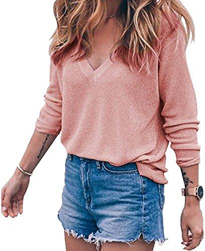 BLINGLAND+Womens+Loose+V-Neck+Pullover+T+Shirt+Knit+Tops+Pink+XL