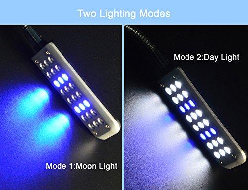 ECtENX LED Aquarium Light, Fish Tank Light, 24 LEDs, Clip on Fish Tank Lighting Color with White & Blue
