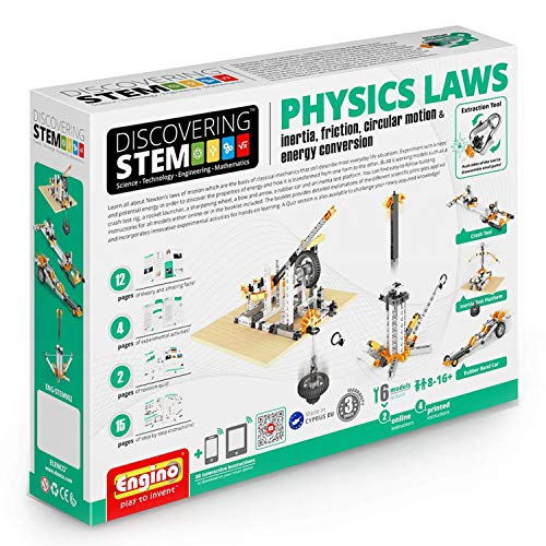 Engino ENG-STEM902 Physics Laws-Inertia, Friction, Circular Motion and Energy Conservation Building Set (118 Piece) ()