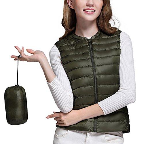 Ligero Pluma Mangas Chaleco Verde Del Ejército de Chaquetas Plegable de Plumón Mujer Portátil de Sin qxtYwtBUr