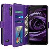 LG Stylo 3 Case, LG Stylo 3 Plus Case, LK Luxury PU Leather Wallet Flip Protective Case Cover with Card Slots and Stand for LG Stylo 3 / LG Stylo 3 Plus (Purple)
