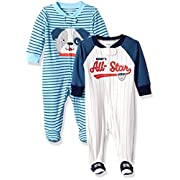 Carter's Baby Boys' 2-Pack Cotton Sleep and Play, Allstar/Dog, Newborn