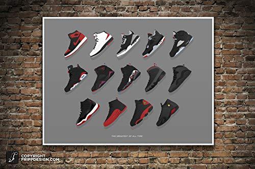 Air Jordan Sneakers 1 - 14 Full Collection Illustration. Best Seller, Greatest of All Time, Vintage Kicks- Large Sneaker Wall Art 12