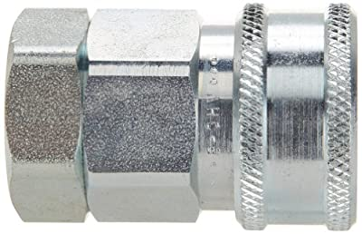 """Snap-Tite VHC8-8F Zinc-Plated Steel H-Shape Quick-Disconnect Hose Coupling, Sleeve-Lock Socket, 1/2"""" NPTF Female x 1/2"""" Coupling Size"""