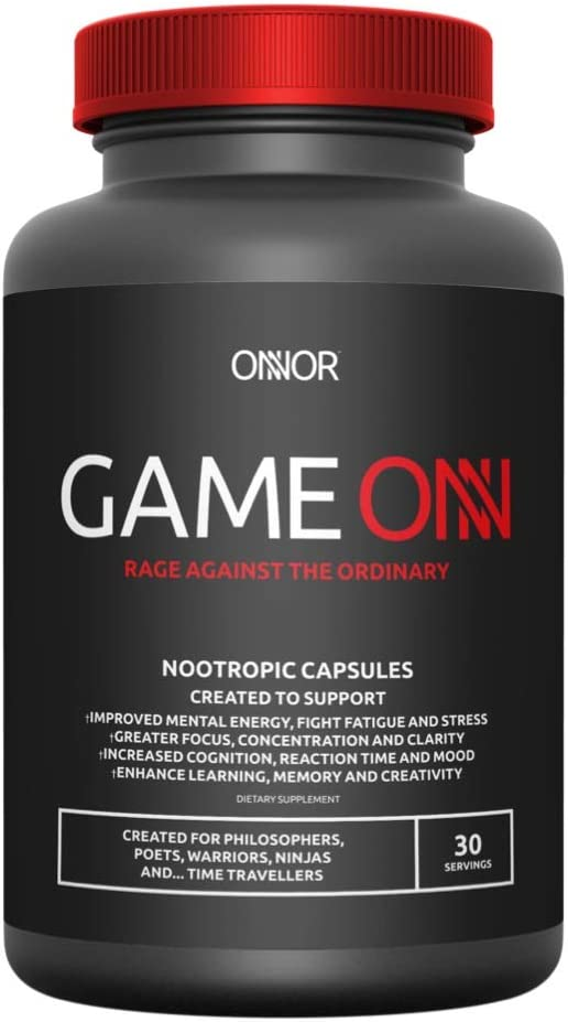 ONNOR Game ONN Advanced Natural Nootropic Brain Supplement, Cognitive Enhancer, Boost Energy, Focus Mental Performance 90 Vegan Capsules L-Tyrosine, Huperzine A, Lion s Mane, Alpha GPC, Caffeine