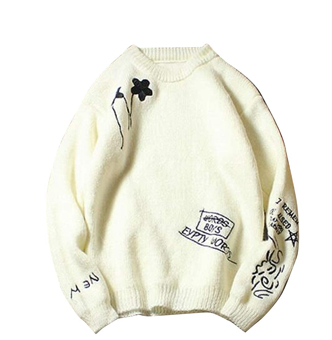 Fubotevic Mens Embroidery Regular Fit Stylish Round Neck Long Sleeve Pullover Sweaters