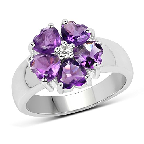 Topaz Blossom (Huang and Co. 2.10 Carats Genuine Amethyst and White Topaz Blossom Ring Solid .925 Sterling Silver With Rhodium Plating)
