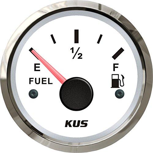 KUS Fuel Tank Gauge Marine Boat RV Car Fuel Gauge Gas Diesel Tank Level Indicator Silver White 52mm 240-33ohms