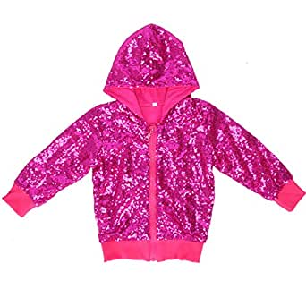 Cilucu Kids Jackets Girls Boys Sequin Zipper Coat Jacket for Toddler Birthday Christmas Clothes Hoodie Hot Pink 12MONTHS-2T