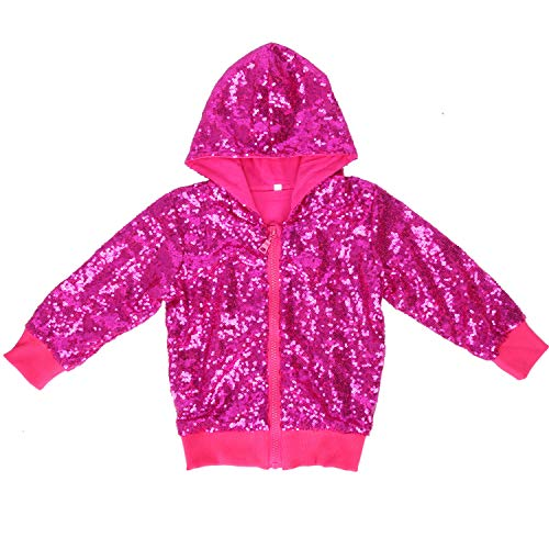 Cilucu Kids Jackets Girls Boys Sequin Zipper Coat Jacket for Toddler Birthday Christmas Clothes Hoodie Hot Pink -