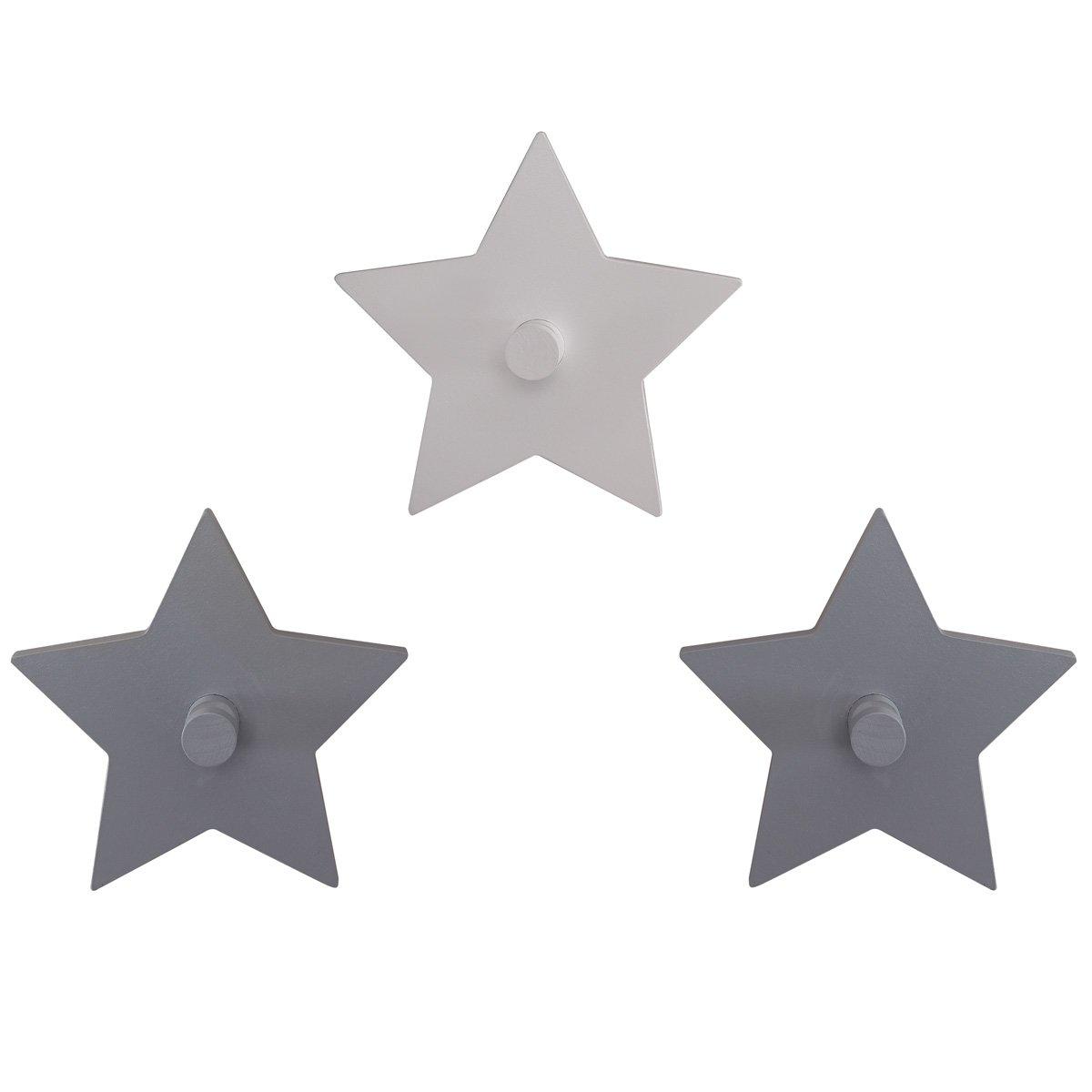 Kinderzimmer deko sterne  Baby 3er Set Wandhaken hochwertiges Holz Little Stars grau / weiß ...