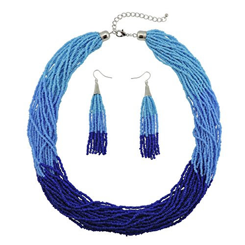 Bocar Multi Layer Beaded Statement Necklace Set Mix Strand Necklace and Earrings for Women Gift (NK-10459-blue+Navy Blue)