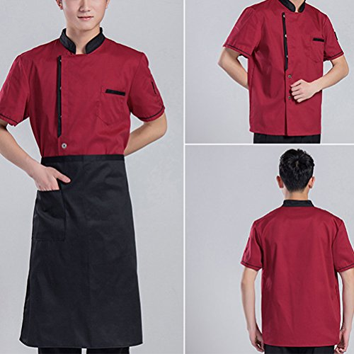 Chef calidad Classic Uniform Zhuhaitf Clothes Long Simplicity Alta Sleeve Red Colors 3 Unisex Work t4qa6B