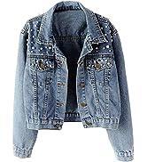 Tanming Women's Casual Embroidered Pearls Beading Denim Jacket Jean Coat