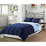 Chezmoi Collection 2-Piece Navy Light Blue Super Soft Goose Down Alternative Reversible Comforter Set, Twin/Twin X-Large