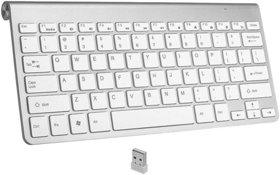HLOIPYUR Ultra Slim 2.4Ghz Wireless Keyboard for MacBook//PC Computer//Laptop//Smart TV with USB Receiver