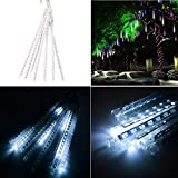 ALight House Waterproof Meteor Shower Rain Light Tube 8tubes 11.8inches IP64 Waterproof Icicle Snow Falling Raindrop String Light for Outdoor Indoor Wedding Party Christmas Xmas Tree Decoration (Cold)