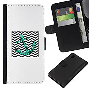 iBinBang / Flip Funda de Cuero Case Cover - Leopard Teal Chevron Waves Sea - Sony Xperia Z1 L39H