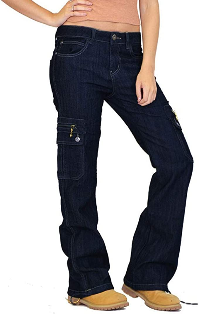 New Womens Ladies Dark Wash Wide Loose Denim Cargo Jeans Combat Pants Trousers