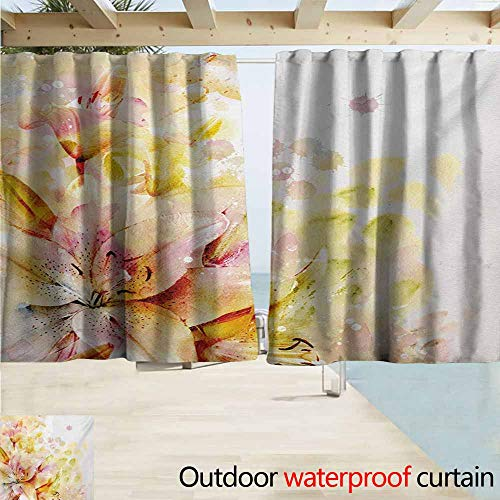 Lcxzjgk Shabby Chic Outdoor Waterproof Curtain Watercolored Lilies Flowers Buds Leaves Colored Marks Artwork Perfect for Your Patio, Porch, Gazebo, or Pergola W55 xL72 Cream Pale Pink and Peach
