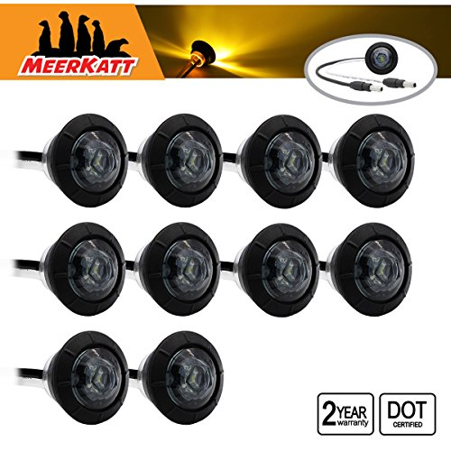 Round Trailer End Connector (Meerkatt (Pack of 10) 3/4 inch Round Smoked Lens Amber LED Special Generation Bullet Clearance Lamp Side Marker Indicators Light Connector ends Boat RV Bus Tow Truck Trailer Universal 12V DC Kit XT-DC)