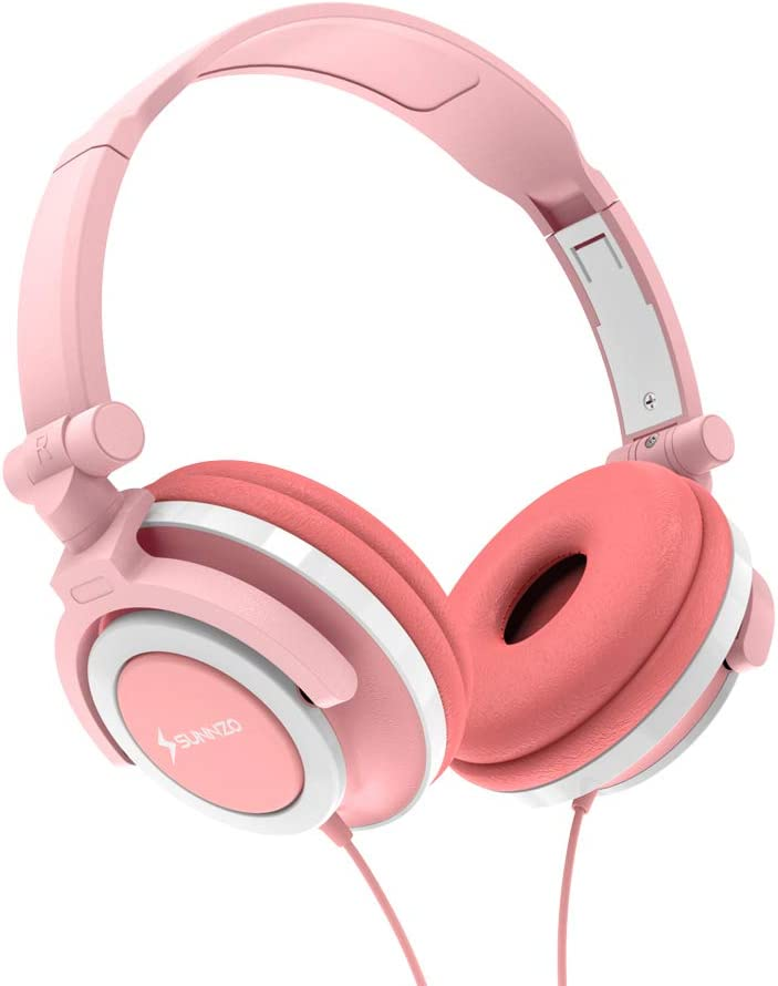 SUNNZO Kids Headphones with 85dB Volume for Limited Hearing Protection,Made of Food Grade Material,BPA-Free,Tangle-Free Cord, Wired On-Ear Headphones for Children,Toddler,Baby (Pink-for Girls)