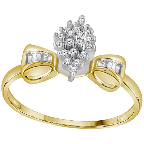 (10k Yellow Gold Bowtie Diamond Ring Fashion Band Cocktail style Cluster Round & Baguette 1/10 ctw Size 5)