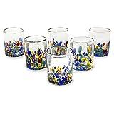 NOVICA Hand Blown Multicolor Recycled Glass Tumbler Glasses, 10 oz. 'Confetti Festival' (set of 6) For Sale