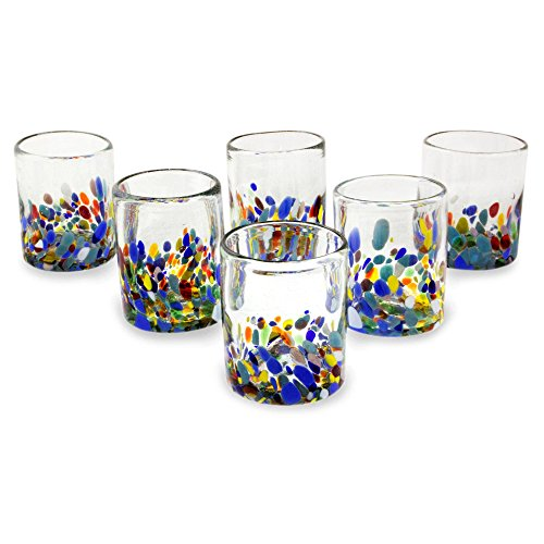 NOVICA Hand Blown Multicolor Recycled Glass Tumbler Glasses, 10 oz. 'Confetti Festival' (set of 6)