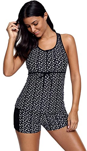 2 PC Sleeveless Polka Dot Tie Front Lace Spliced Tankini Top and Boxer Bottom Swimsuit Set Black L