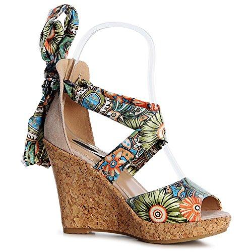 topschuhe24 - Sandalias de vestir de tela para mujer Beige