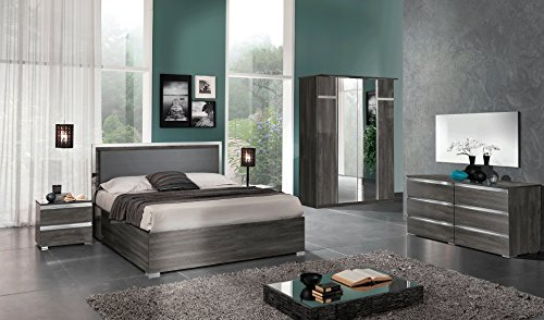 Price comparison product image ESF Oxford Bedroom Collection in Acrylic Lacquer (Queen Bed / 2 Nightstand / Double Dresser / Mirror / 4 Door Wardrobe)