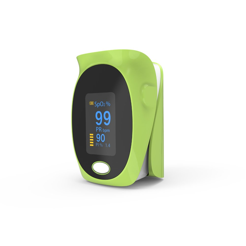 Fingertip Pulse Oximeter Pulse Rate Oxygen Monitor Gravity Sensor Auto Rotation Display Alarm Function Health Monitor with Lanyard Case and Batteries Yonker YK-82 - Green