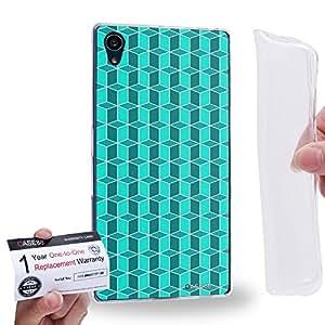 Case88 [Sony Xperia Z5] Gel TPU Carcasa/Funda & Tarjeta de garantía - Art Fashion Cyan Geometric 3D Blocks 2204
