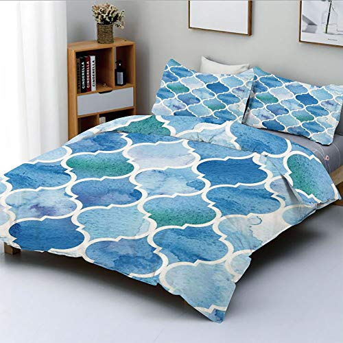 - Duplex Print Duvet Cover Set Full Size,Curvy Geometric Damask Patterns in Watercolor Effect Creative Timeless Home ArtDecorative 3 Piece Bedding Set with 2 Pillow Sham,Blue White,Best Gift for Kids &
