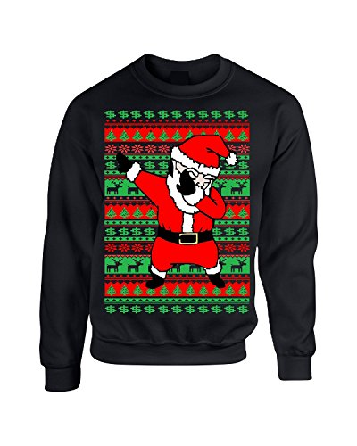 Allntrends Adult Crewneck Dabbing Santa Ugly Christmas Sweater (S, Black)