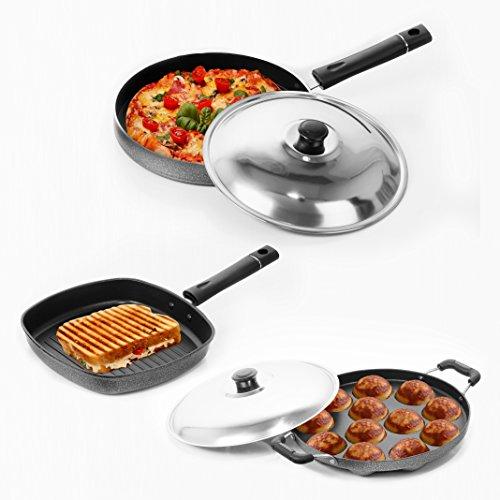 Sumeet Nonstick Stainless Steel Joyous Combo Set silver  Grill Pan   22 cm Appam Patra 12 Pcs
