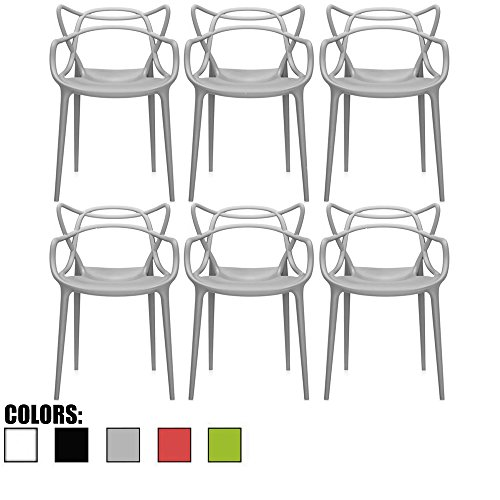 2xhome - Set of 6 Grey Dining Room Chairs - Modern Contemporary Designer Designed Popular Home Office Work Indoor Outdoor Armchair Living Family Room Kitchen
