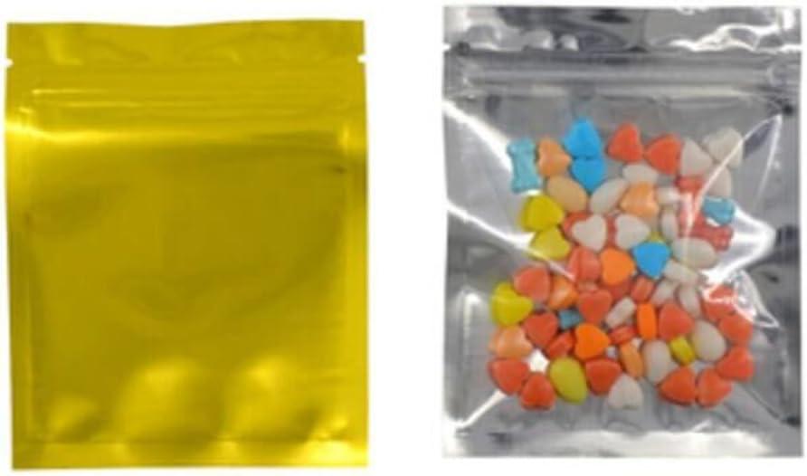 100 Pcs Reclosable 10.2x12.7 cm/4x5inch Clear Colorful Mylar Foil Flat Bag Sample Pouch Heat Sealable Aluminum Foil Bags Food Storage Coffee Candy Foil Grip Seal Wrap (Gold)