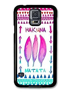 AMAF ? Accessories Hakuna Matata Lion King Pink and Blue Feather Aztec Illustration case for Samsung Galaxy S5