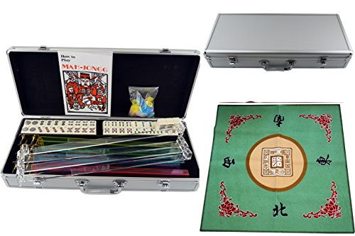 American Mahjong 166 Tiles Set w/ Racks Brief Case 4 Color Pushers/Racks Western Mahjongg Silver w / Green Table Cover by Mstechcorp