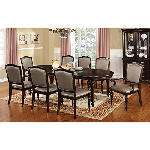 Furniture of America Raab 7 Piece Dining Set in Dark Walnut