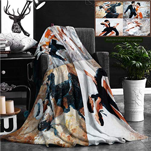 (Nalagoo Unique Custom Flannel Blankets Tango Dancers Oil Painting Girl Ballerina In Super Soft Blanketry for Bed Couch, Twin Size 80