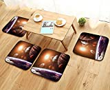 Luxurious Household Cushions Chairs Solar System with Planets Outer Space Objects Sun Dark Matter Background Orange Purple Soft and Comfortable W31.5 x L31.5/4PCS Set