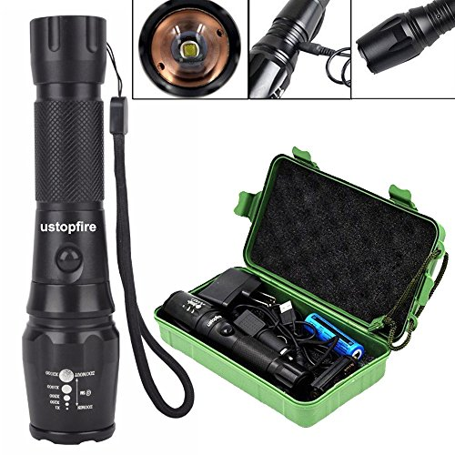 ustopfire 2000 Lumen XML T6 LED Flashlight Rechargeable Torch 5 Modes Handheld LED Tactical Flashlight,Portable Tactical Adjustable Flashlight,Water-resistant Torch with 18650 Battery 2 Chargers