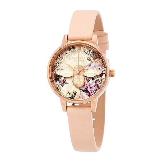Olivia Burton Reloj Analógico para Mujer de Cuarzo con Correa en Cuero OB16EG98: Amazon.es: Relojes